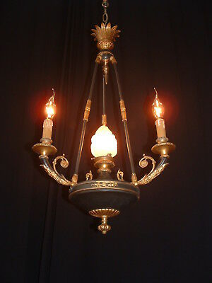 Antique French Bronze 3 arm 4 light chandelier early 1900's Empire style