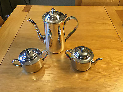 Ralph Lauren Home Polo Coffee Pot with Milk Jug and Sugar Bowl Silver Plated