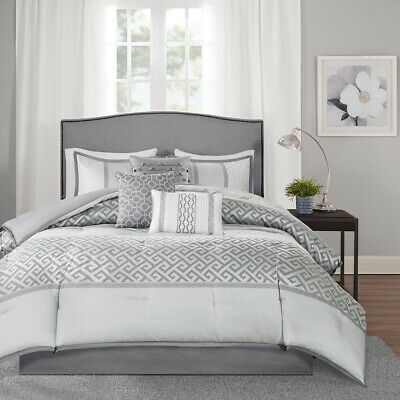 7pc Charcoal Grey & Silver Geometric Comforter Set AND Decorative Pillows
