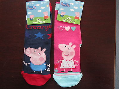 Bnwt - 2 Peppa Pig Socks - Size  3-5.5 And 9-12 - Pink Peppa And Blue George