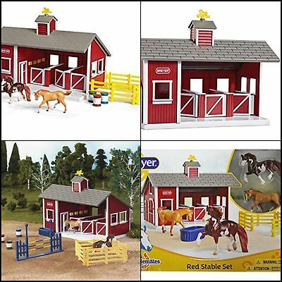 Stablemates Red Stable Set Toy Horses Farm Barn Pretend Play Kids Toddler Gift