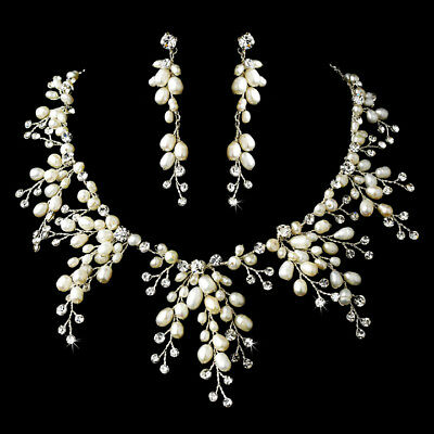 silver clear crystal ivory pearl necklace earring set - bridal wedding jewellery