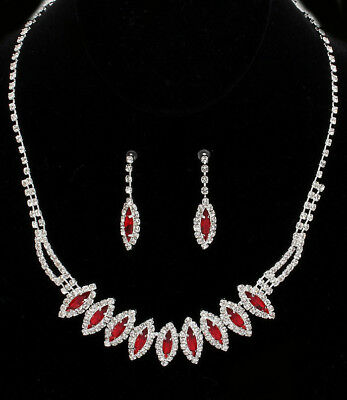 red crystal drop necklace & earring set - costume jewellery