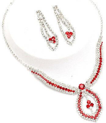 clear & red crystal pendent drop necklace & earring set - costume jewellery