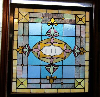 Large Antique Stained Glass Landing Window