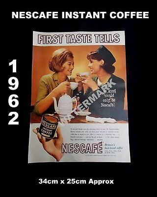 1962 Vintage NESCAFE Instant Coffee Printed Ad Two Women & Coffee Theme🔴50%SALE