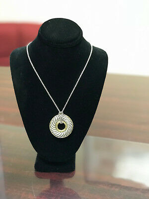 David Yurman 18k gold and Sterling Silver Carved Cable Disc Pendant