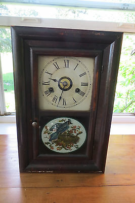 Seth Thomas cottage clock, wood, Antique reverse painting on glass, circa 1890's