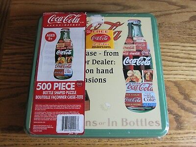 NEW IN BOX Coca Cola 500 Piece Jigsaw Puzzle Bottle Shaped Collectible Tin 2003