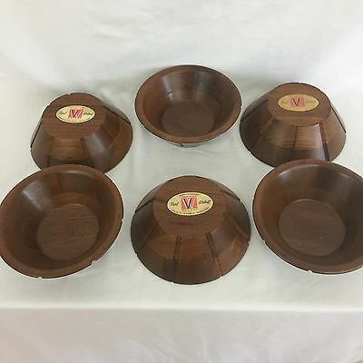 "Set Of 6 VERMILLION Real Walnut Wood Salad Serving Bowls 6"" Inch USA Made"