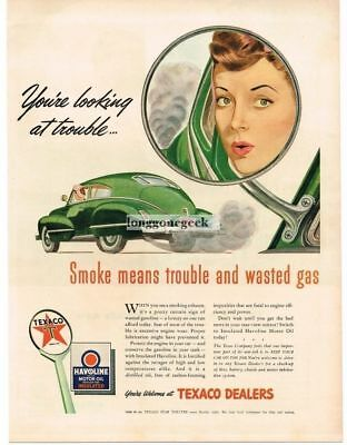 "1943 Texaco Havoline Oli ""You're Looking At Trouble"" Art Vtg. Print Ad"
