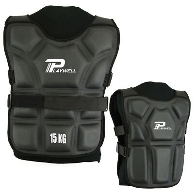 Playwell Weighted Vest 15kg Jacket Training Running Boxing Martial Arts Fitness