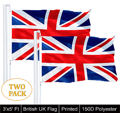 2 PACK 3x5 British Union Jack United Kingdom UK 150D Flag 3'x5' Banner