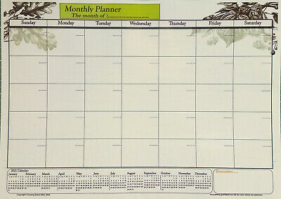 A3 Size Laminate Monthly planner dry wipe wall chart with 2019 & 2020 calendar