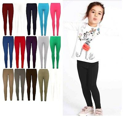Girls Full Length Plain Cotton Leggings Black + Colours