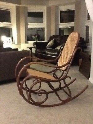 Vintage Style Bentwood Rocking Chair with Rattan Seat and Back.