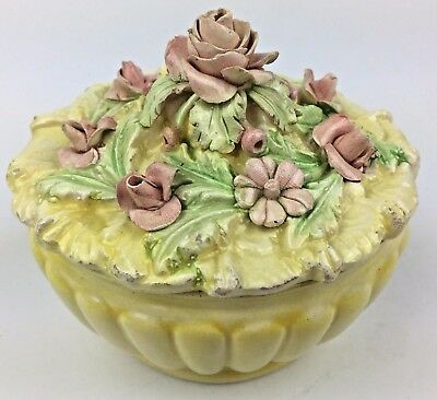 Vintage Trinket Box Italian Porcelain Yellow Pink Flowers Old World