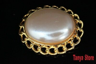 BEAUTIFUL  VINTAGE FAUX MOTHER OF PEARL BROOCH PIN GOLD TONE METAL c1980's