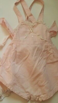 Vintage 50s baby romper bow back pink 6 to 12 months antique girl Castro & Co