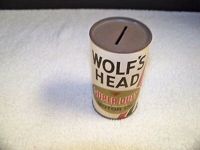 """WOLF'S HEAD Bank Vintage Super Duty  Motor Oil Can Bank Oil City, PA 3.75"""" Tall"""