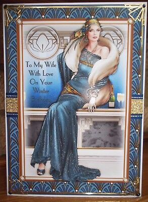 handmade art deco personalised wife winter birthday card with a lady in blue