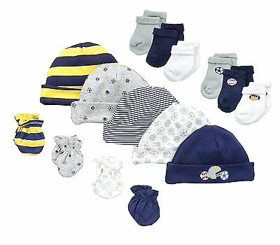 Gerber Baby-Boys Sports 15 Piece Socks Caps and Mittens Gift Set, 0-3M