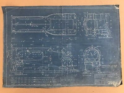 Antique Vintage Industrial Blueprint Drawing Machine Age 1913 Steam Engine
