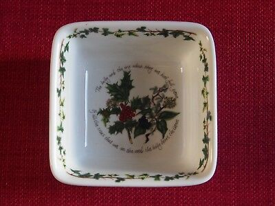 Small Square Portmeirion Christmas bowl Holly and Ivy Excellent condition