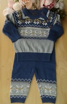 Spanish Style 2Pcs Baby Boy Blue Fine Knit Occasion Set Top Trousers 0-3-6-12m