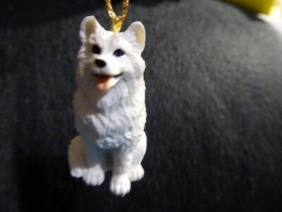 Very Cute Small Hand Painted Samoyed Dog Figurine Christmas Ornament