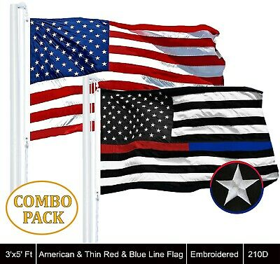 Wholesale LOT | USA 3x5ft Embroidered & Thin Red&Blue Line 3x5ft Embroider Flag