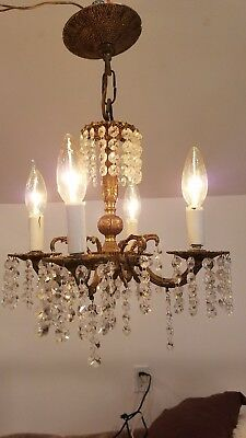 antique Brass Chandelier 4  arm candle style crystal Made in Spain light vintage