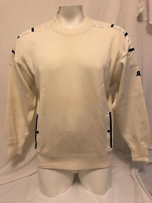 Vintage Men's  DEMETRE 100% Virgin Wool Off white cream Navy Knitted Sweater XL