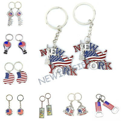 12pcs US Souvenir American Flag Key Chain New Year Christmas GIFT