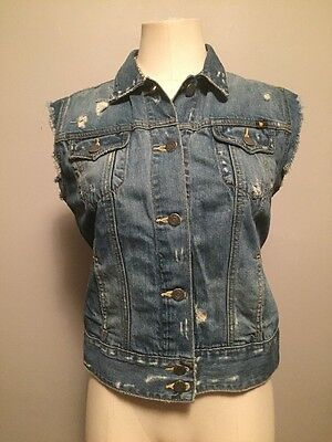 NWOT Lucky Brand Jeans S Blue Distressed Cotton Denim Vest Button Sleeveless Top