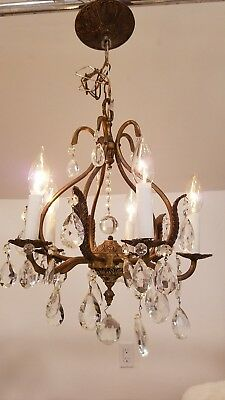 antique Brass Chandelier 5  arm candle style crystal Made in Spain light vintage
