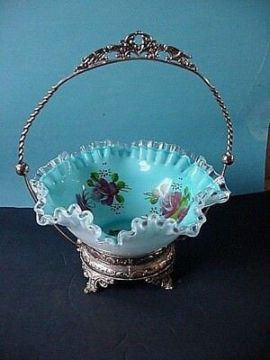 """Handpainted Blue Cased Overlay Art Glass BRIDE'S BASKET W/Footed Carrier 12"""""""
