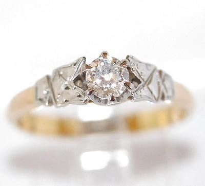 Vintage Art Deco .20 ct. Diamond Solitaire Ring In 18k Gold And Platinum c.1920