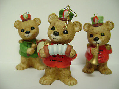 Set of 3 bears figurines by Homco # 5553,  bears playing musical instruments