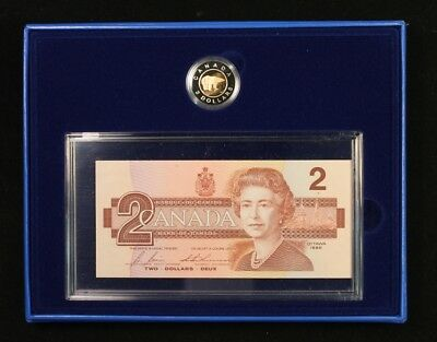 1996 Canadian $2 Proof coin and $2 Bank Note Set
