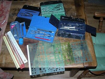 HUGE Lot of Vintage Drafting Drawing Tools Dietzgen Tech Supply Co etc Compass