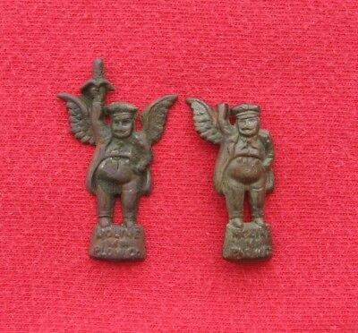 2 Antique MOLINE PLOW CO. Flying Dutchman Advertising Stick Pin Tops