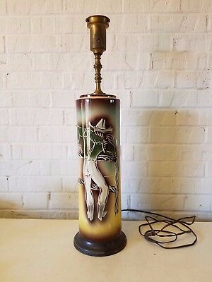 Sascha Brastoff Pottery Table Lamp with Western Cowboy Decorations