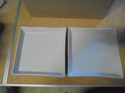 Will post - Pair Pillivuyt French square white serving plates