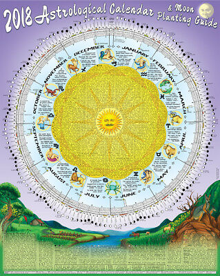 2018 Astrological Moon Calendar & Planting Guide Rolled & Posted In A Tube