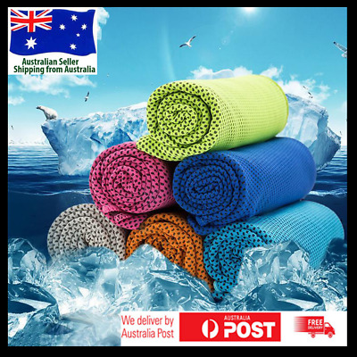Cooling Towel 90*30cm Double Layers Sports Instant Cool Dry Ice Adult Kids - AU