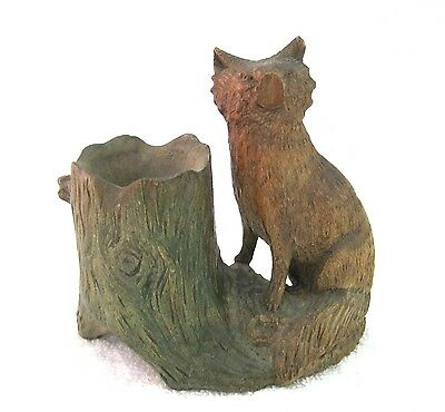 """Antique Carved Wood Fox & Tree Match Spill Holder Treen 4 3/8 x 4 1/2 """" SHP"""