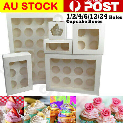 Premium Cupcake Box Range 2 4 6 12  24 hole Window Face Cases Party 5-100 PCS