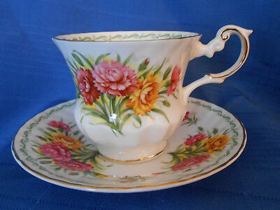 Cup & Saucer Queen's Fine Bone China England  Carnation Rosina China Co. Ltd.