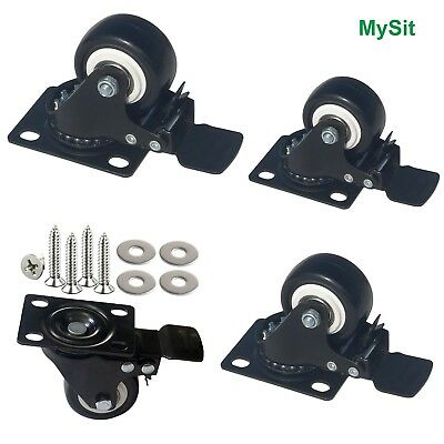 MySit Plate Casters with Brake Lock and Hardwares 4 Pack 2 Inch Heavy Duty Bl...